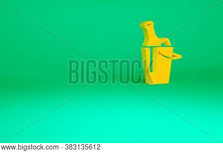 Orange Bottle Of Wine In An Ice Bucket Icon Isolated On Green Background. Minimalism Concept. 3d Ill