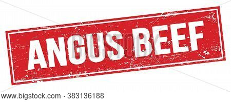 Angus Beef Text On Red Grungy Rectangle Stamp.