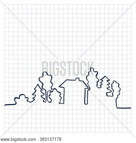 One Line Panorama. Cityscape. Simple Hand Drawn Vector Illustration.