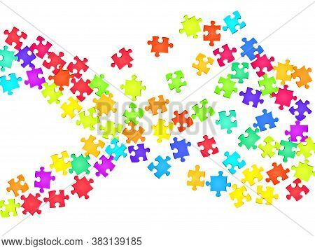 Business Teaser Jigsaw Puzzle Rainbow Colors Parts Vector Illustration. Top View Of Puzzle Pieces Is