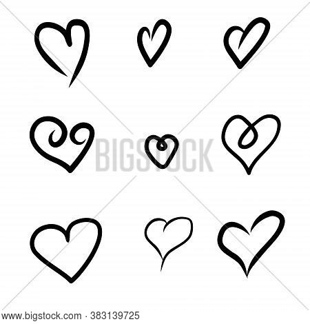 Set Of Nine Hand Drawn Heart. Handdrawn Rough Marker Hearts Isolated On White Background. Vector Ill