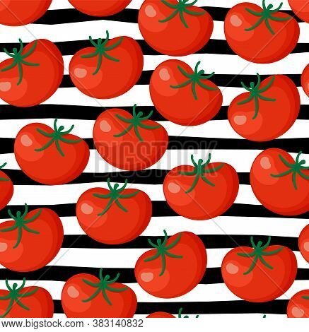Seamless Background From Chopped Ripe Tomatoes Isolated On White Background. Fresh Tomato Slices Pat