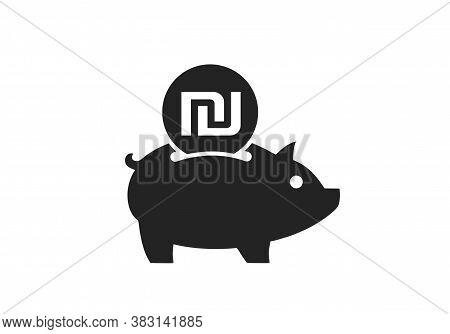 Save Israeli Shekel Icon. Israeli Money Piggy Bank. Isolated Vector Banking And Finance Symbol