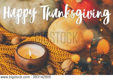 Happy Thanksgiving Greeting Card. Hand Written Happy Thanksgiving Text On Background Of Pumpkins, Au
