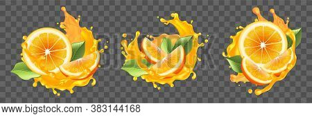 Realism, Oranges, Juice Splashes Set Collection. Illustration Of Realistic Drawing Cut Oranges, Slic