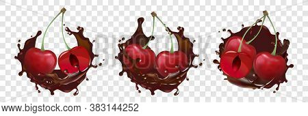 Realism, Cherries, Chocolate Splash, Set Collection. Realistic Illustration Of Full And Cut Cherries