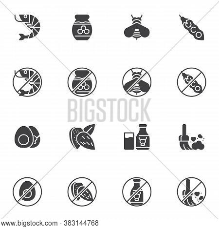Allergen Food Vector Icons Set, Allergy Symptoms Modern Solid Symbol Collection, Filled Style Pictog