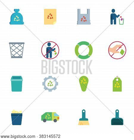 Zero Waste Elements Collection, Recycle Waste Flat Icons Set, Colorful Symbols Pack Contains - Plast