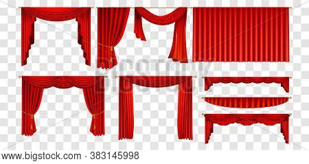 Realistic Red Curtains Set Decorate Elements Collection. Illustration Of Realism Style Drawn Red The