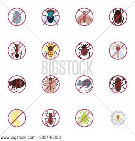 Pest Animals Prohibition Signs Collection, Flat Icons Set, Colorful Symbols Pack Contains - Ant, Mot