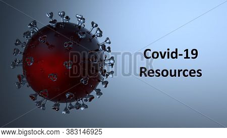 A Sars-cov-2 Coronavirus Molecule With A Red Core And Transparent Elements. Banner Reading Covid-19