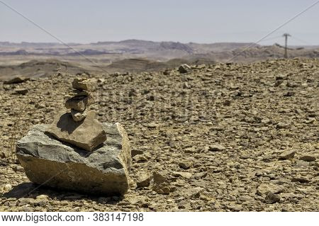 Commemorative Cairn At The Top Of A Hill In Ramon Crater. Israel