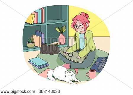 Online, Education, Reading, Study Concept. Young Woman Girl Student Sitting Home And Studying Book R