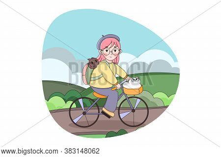 Cycling, Recreation, Sport, Activity Concept. Happy Young Child Girl Character Riding Bicycle With P