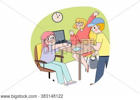 Pizza, Delivery, Business, Food Concept. Young Happy Businesswomen Clerks Manager Employees Characte