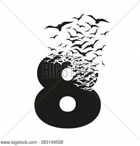 Number 8 With Effect Of Destruction. Dispersion. Birds.