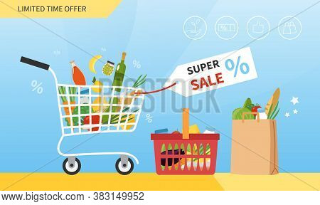 Grocery Sale Concept With Trolley, Basket And Brown Packet Full Of Food Below A Discount Tag, Colore