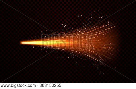 Shower Of Fiery Sparks From Welding Metal Over A Dark Background, Realistic Colored Vector Illustrat