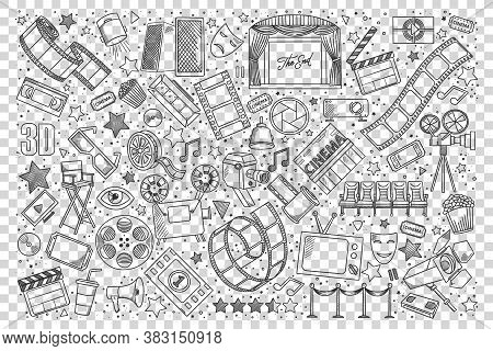 Cinema Doodle Set. Collection Of Hand Drawn Sketches Design Elements Templates Patterns Movie Theate