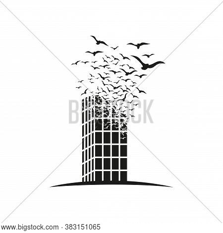 Skyscraper With The Effect Of Destruction. Dispersion. Birds.