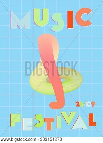 Music Cover In Pink, Blue, Orange, Green Colors. School Concert Flyer. Minimal Line Brochure. Amplit