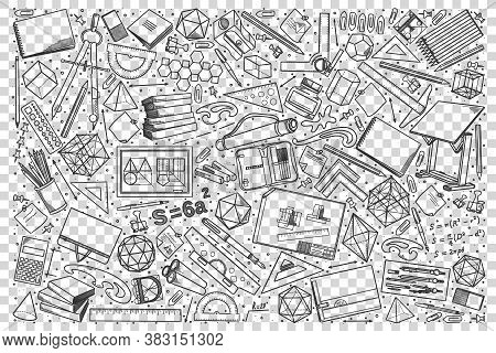 Drawing Doodle Set. Collection Of Hand Drawn Sketches Templates Drawing Patterns Of Different Tools