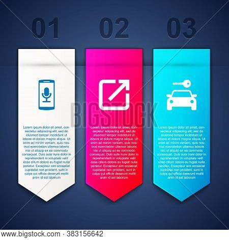 Set Mobile Recording, Open New Window And Car Rental. Business Infographic Template. Vector
