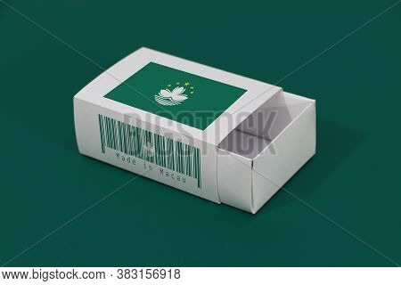 Macau Flag On White Box With Barcode And The Color Of Nation Flag On Green Background, Paper Packagi
