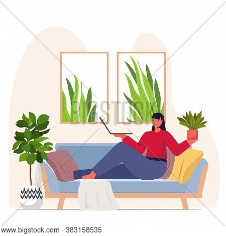 Woman Taking Care Of Houseplants Housewife Using Laptop Relaxing On Sofa Modern Living Room Interior