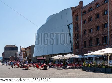 Stralsund, M-v / Germany - 11 August 2020: The Riverfront And Ocean Museum In Stralsund
