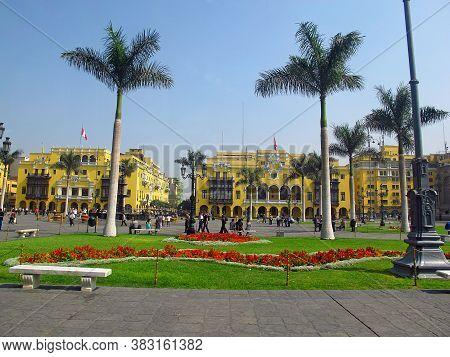 Lima / Peru - 30 Apr 2011: Plaza De Armas, Plaza Mayor, Lima City, Peru, South America