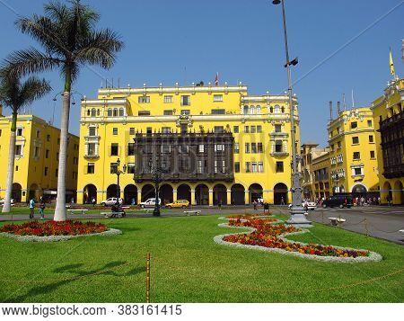 Lima / Peru, - 30 Apr 20111: The Vintage Palace On Plaza De Armas, Plaza Mayor, Lima City, Peru, Sou