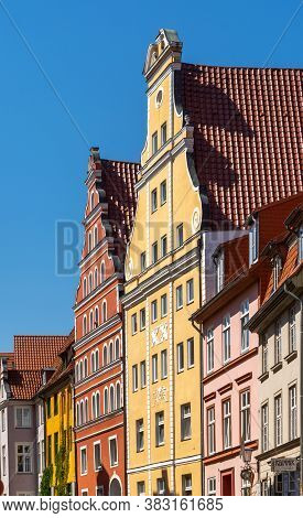 Stralsund, M-v / Germany - 11 August 2020: Detail View Of Classic Stralsund Old Town City Center Hou