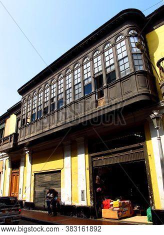 Lima / Peru, - 30 Apr 20111: The Vintage Balcony Of Palace On Plaza De Armas, Plaza Mayor, Lima City