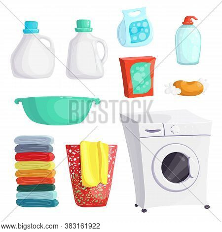 Washing Machine, Powder Set. Laundry Detergent. Vector Illustration Icons Clean Clothes. Laundry Col