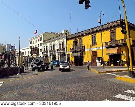 Lima / Peru - 30 Apr 2011: The Street In Lima City, Peru, South America