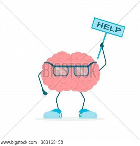 Brain Character Holding Sign Help Standing On White Background. Self-improvement. Square, Vector Ill
