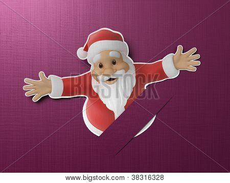 Santa cut out of paper
