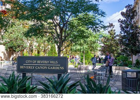 Beverly Hills, United States, November 2013: View On Beverly Canon Gardens In Beverly Hills, Los Ang