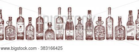 Seamless Pattern With Hand Drawn Sketch Glasses Bottle On White Background Alcoholic Drinks Wine, Ch