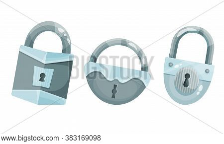 Silver Padlock With Keyhole As Security Mechanism Vector Set
