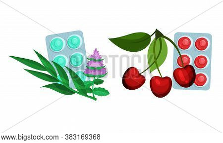 Lozenge Blister Packs With Different Flavour As Throat Candies And Cough Remedy Vector Set