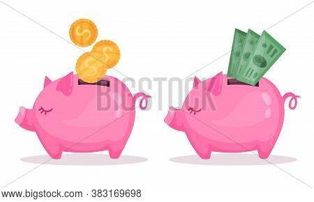 Pink Piggy Bank Or Moneybox With Hole Vector Set