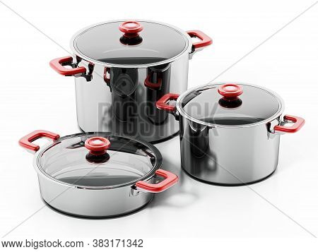 Set Of Steel Cooking Pots Isolated On White Background. 3d Illustration.