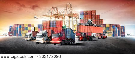 Business Logistics And Transportation Concept Of Containers Cargo Freight Ship And Cargo Plane With