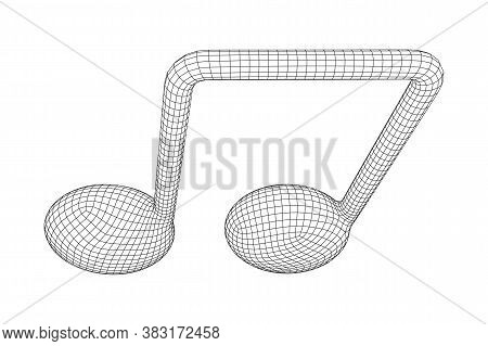 Music Note. Mensural Musical Notation. Note Value Music Staff. Wireframe Low Poly Mesh Vector Illust