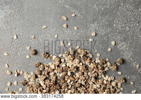 Mixed Vegetable Seeds On Grey Background, Flat Lay