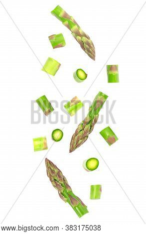 Falling Vegetables Isolated On White Background With Clipping Path