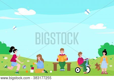 Cute Kindergarten Kids Or Preschoolers Playing Outside, Flat Vector Illustration. Little Boys And Gi
