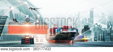 Global Business Logistics Import Export Concept, Container Truck, Ship In Port And Freight Cargo Pla